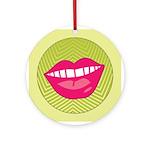 Funky Retro Lips Christmas Ornament (Round)