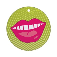 Funky Retro Lips Christmas Ornament (Round)