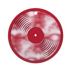 Red Halftone Christmas Record Ornament (Round)