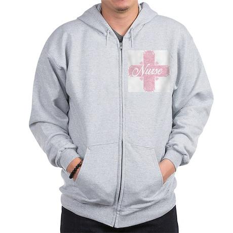 Nurse Pink Lacy Cross Zip Hoodie