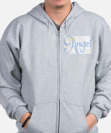 Angel Text Zip Hoodie