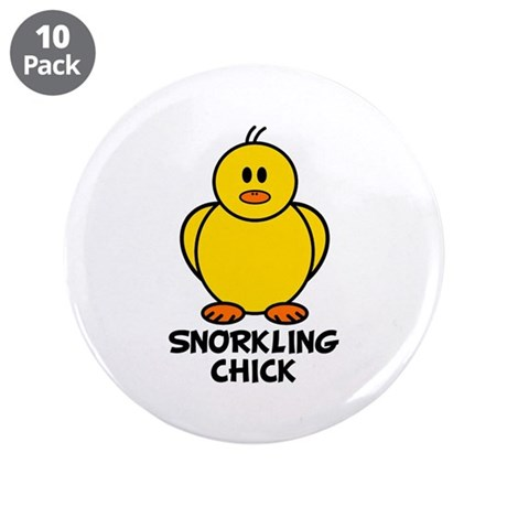 """Snorkling Chick 3.5"""" Button (10 pack)"""