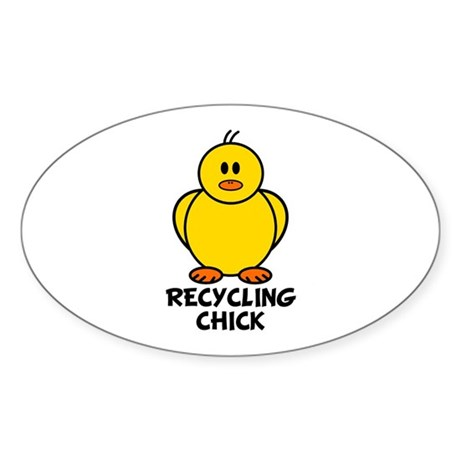 Recycling Chick Oval Sticker