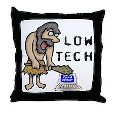 Low Tech Caveman Throw Pillow