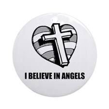 I BELEIVE IN ANGELS CROSS /HEART Ornament (Round)