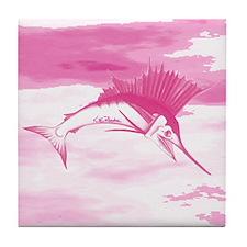 Pink Sailfish Tile Coaster