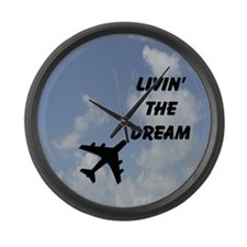 Airplane Living The Dream Large Wall Clock