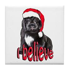 Christmas Newf puppy Tile Coaster