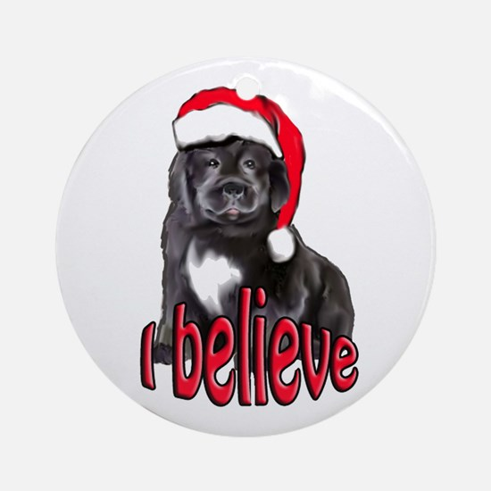 Christmas Newf puppy Ornament (Round)