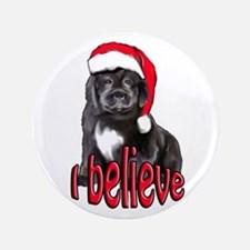 """Christmas Newf puppy 3.5"""" Button"""