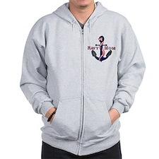 Navy Mom Anchor Zip Hoodie