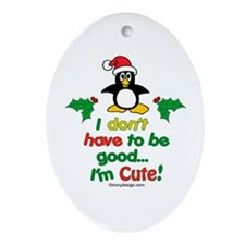 I'm Cute! Penguin Ornament (Oval)