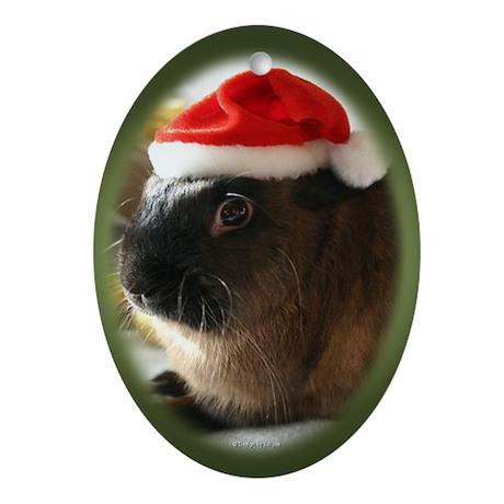 Santa Rabbit Oval Ornament