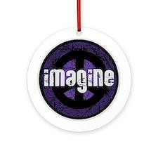 Imagine Peace Vintage Ornament (Round)