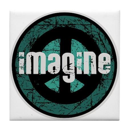 Imagine Peace Vintage Tile Coaster