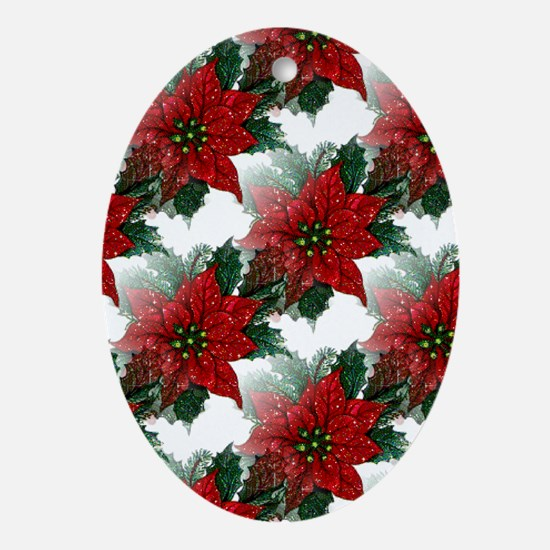 Sparkling Red Poinsettias Oval Ornament
