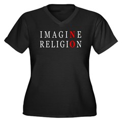 Imagine No Religion Women's Plus Size V-Neck Dark