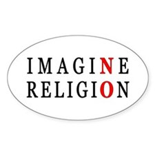 Imagine No Religion Oval Decal