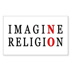 Imagine No Religion Rectangle Sticker 50 pk)