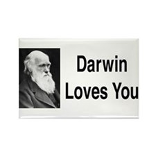 Darwin Loves You Rectangle Magnet