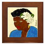 Woman w/Gardenias in Her Hair Framed Tile
