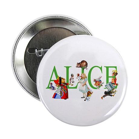 """ALICE & FRIENDS IN WONDERLAND 2.25"""" Button"""