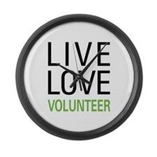 Live Love Volunteer Large Wall Clock