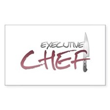 Red Executive Chef Rectangle Decal