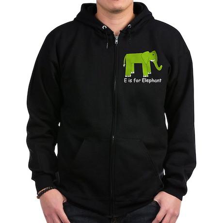 E is for Elephant Zip Hoodie (dark)