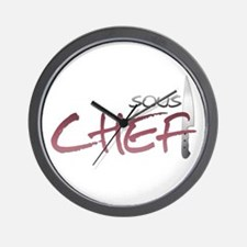 Red Sous Chef Wall Clock