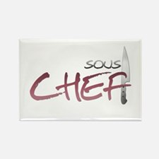 Red Sous Chef Rectangle Magnet