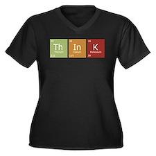 Think Women's Plus Size V-Neck Dark T-Shirt