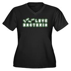 Love Bacteria Women's Plus Size V-Neck Dark T-Shir