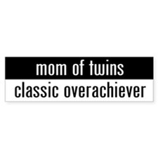 """mom of twins"" Bumper Bumper Sticker"