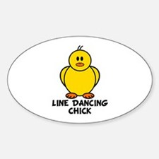 Line Dancing Chick Oval Decal