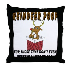 Reindeer Poop Throw Pillow