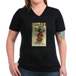 Christmas Sledding Women's V-Neck Dark T-Shirt