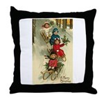 Christmas Sledding Throw Pillow