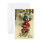 Christmas Sledding Greeting Cards (Pk of 20)