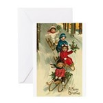 Christmas Sledding Greeting Card