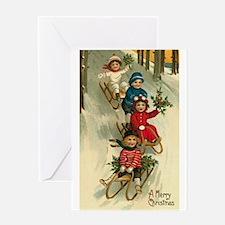 Christmas Sledding Greeting Card