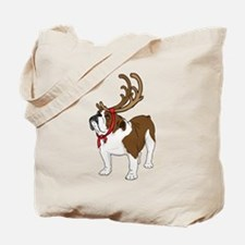 Bulldog in Antlers Tote Bag