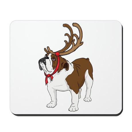 Bulldog in Antlers Mousepad