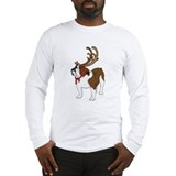 Bulldog with antlers Long Sleeve T Shirts
