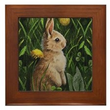 Bunny and Flowers Framed Tile