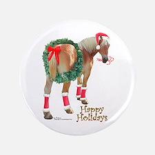 "Christmas Draft Horse Belgian 3.5"" Button"