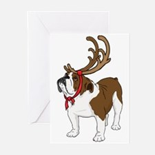Bulldog in Antlers Greeting Cards (Pk of 20)