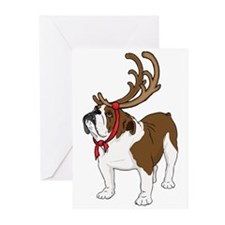 Antler Bulldog Christmas Cards (Pk of 10)