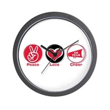Peace Love Cheer Red Wall Clock