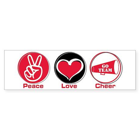 Peace Love Cheer Red Sticker (Bumper)